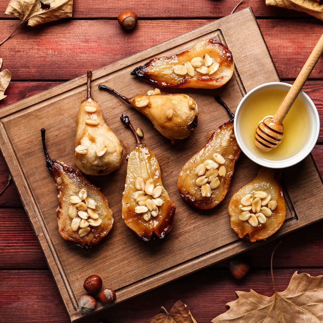 Pere Abate al forno con miele e frutta secca